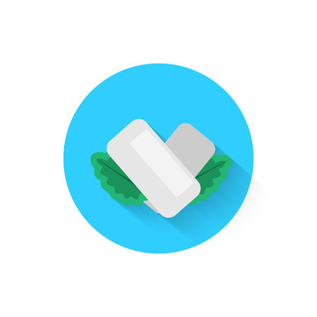 Ilustración de Chewing gum with mint leaves is an icon icon isolated. Vector illustration for your projects - Imagen libre de derechos
