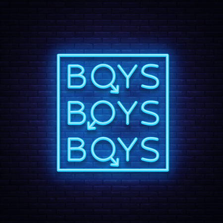 Illustration pour Boys neon sign. LGBT. Gay show Night sign for gay club. Adult show. Vector illustration. - image libre de droit