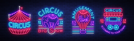 Illustration pour Circus collection of neon signs. Set of logos Vector illustration. - image libre de droit