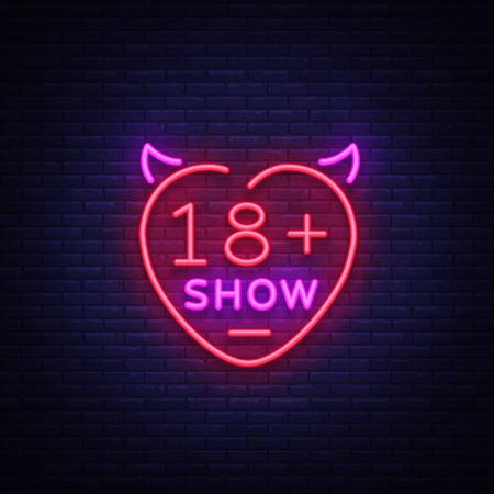 Ilustración de Sex show neon sign. Bright night banner in neon style, neon billboards for advertising sex shows, sex shop, intimate services, adult shows. Vector illustration. - Imagen libre de derechos