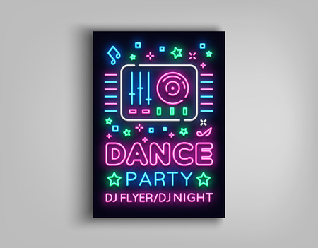 Illustration pour Dance party poster design template in neon style. Night party DJ neon sign, light banner, flyer bright nightlife advertisement, party invitation, nightclub, concert, disco. Vector illustration. - image libre de droit