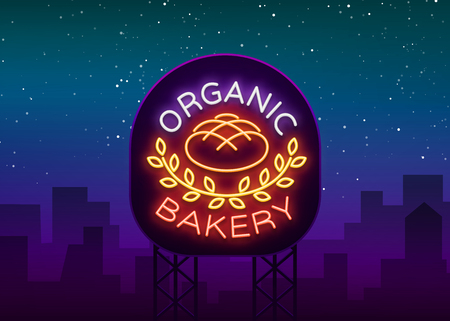 Bakery organic logo, fresh bread, loaf. Vector illustration on bakery, baking, confectionery. Natural baking. Neon sign, vivid advertising, luminous symbol for your projects.