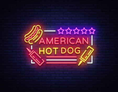 Illustration pour Hot dog logo in neon style design template. Hot dog neon signs, light banner, neon symbol fast food emblem, American food, bright night advertising. Vector illustration - image libre de droit
