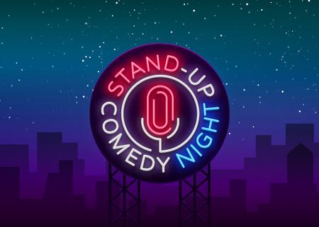Ilustración de Stand Up Comedy Show is a neon sign. Neon logo, symbol, bright luminous banner. - Imagen libre de derechos