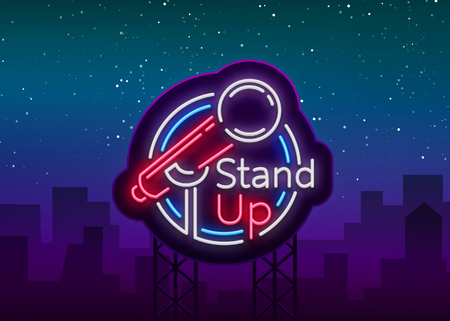 Illustration pour Stand Up Comedy Show is a neon sign. Neon logo, symbol, bright luminous banner, neon-style poster, bright night-time advertisement. Stand up show. Invitation to the Comedy Show. Vector. - image libre de droit