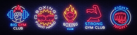 Collection neon signs for sports. Set neon logos emblems for Sports, design template symbols.