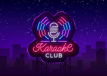 Illustration pour Karaoke Club Logo in Neon Style. Neon sign, bright nightly neon advertising Karaoke. Light banner, bright night billboard. Vector illustration. Billboard. - image libre de droit