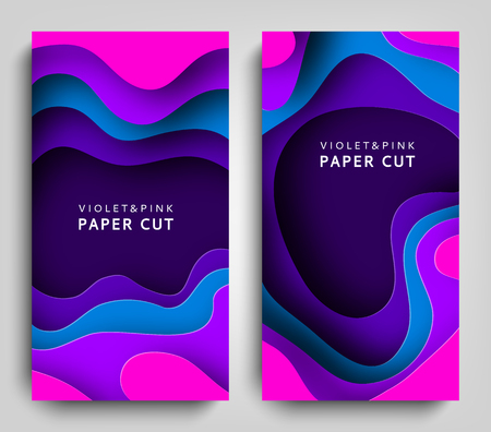 Ilustración de Vertical banners paper cut. Paper art in violet and blue colors. 3D abstract background with paper cut shapes. Carving art. Design layout for business presentations, posters and invitations. Vector - Imagen libre de derechos