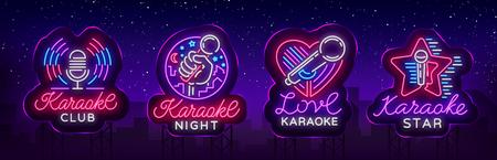 Ilustración de Karaoke set of neon signs. Collection is a light logo, a symbol, a light banner. - Imagen libre de derechos