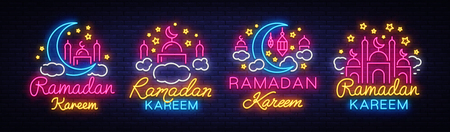 Illustrazione per Ramadan Kareem collection neon signs. Ramadan Kareem vector banner in neon style, night bright signboard, celebration of Muslim community festival, islamic greeting design, greeting card, advertising. - Immagini Royalty Free