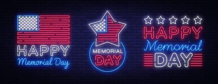 Ilustración de Happy Memorial Day collection neon signs. Neon signboard greeting card, light banner, night sign advertising celebration Memorial Day, USA Holiday. Vector illustration. - Imagen libre de derechos