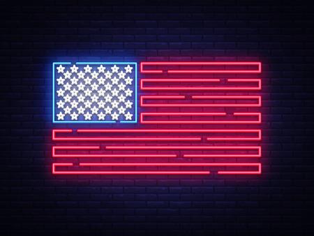 Illustration pour USA flag neon sign. Night bright Signboard USA flag. USA flag vector, neon symbol, light icon. Vector illustration. - image libre de droit