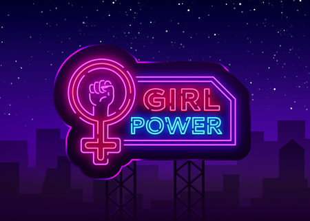 Ilustración de Girls Power neon sign. Fashionable slogan feminist slogan, neon style banner light, night bright sign. Vector illustration. Billboard. - Imagen libre de derechos