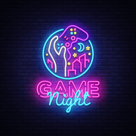 Illustration pour Game Night neon sign Vector logo design template. Game night logo in neon style, gamepad in hand, video game concept, modern trend design, light banner, bright nightlife advertisement. Vector - image libre de droit