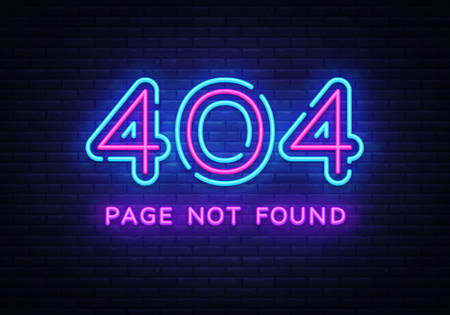 Ilustración de 404 page not found vector banner. 404 error design template, neon sign billboard, contemporary design design. Vector illustration - Imagen libre de derechos