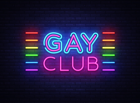 Illustration pour Gay club neon sign vector. Gay Club design template neon sign, light banner, neon signboard, nightly bright advertising, light inscription. Vector illustration - image libre de droit