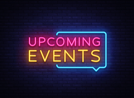 Illustration pour Upcoming Events neon signs vector. Upcoming Events design template neon sign, light banner, neon signboard, nightly bright advertising, light inscription. Vector illustration - image libre de droit