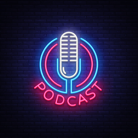 Ilustración de Podcast Neon sign vector design template. Podcast neon logo, light banner design element colorful modern design trend, night bright advertising, bright sign. Vector illustration - Imagen libre de derechos