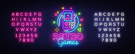 Illustration pour Retro Games Vector Logo. Retro geek gaming gamepad in hand neon sign, modern trend design, vivid vector illustration, promotional character games. Vector Illustration. Editing text neon sign - image libre de droit