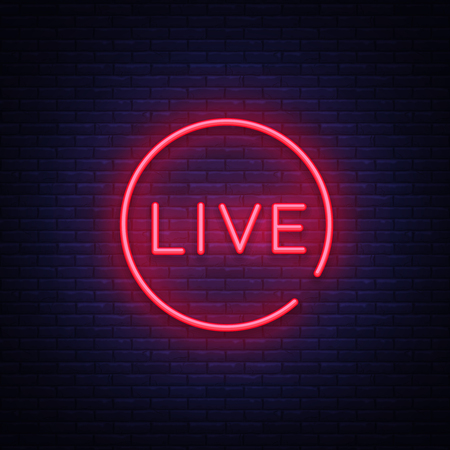 Illustration pour Live neon sign vector. Live Stream design template neon sign, light banner, neon signboard, nightly bright advertising, light inscription. Vector illustration - image libre de droit