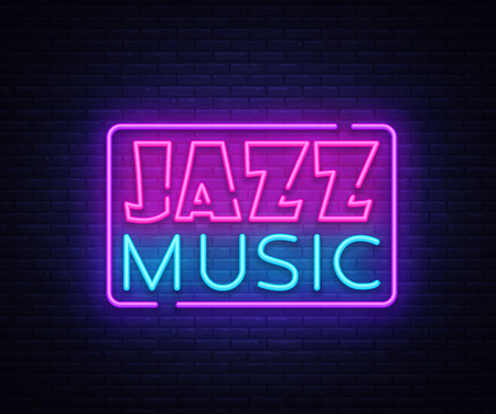 Illustration pour Jazz Music neon sign vector. Jazz Music design template neon sign, light banner, neon signboard, nightly bright advertising. Vector illustration. - image libre de droit