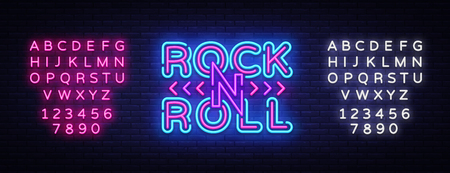 Illustration for Rock and Roll logo in neon style. Rock Music neon night signboard, design template vector illustration for Rock Festival, Concert, Live music, Light banner. Vector. Editing text neon sign. - Royalty Free Image
