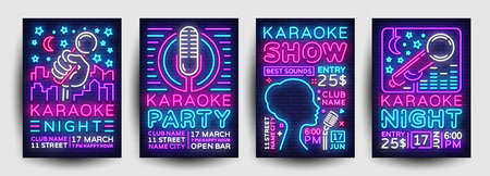 Illustration pour Karaoke party poster collection neon vector. Karaoke night design template, bright neon brochure, modern trend design, light banner, typography invitation to the party, advertising postcard. Vector - image libre de droit