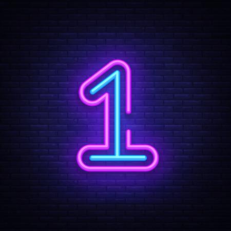 Ilustración de Number One symbol neon sign vector. First, Number One template neon icon, light banner, neon signboard, nightly bright advertising, light inscription. Vector illustration. - Imagen libre de derechos