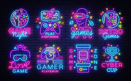 Photo for Big Collection Video Games Logos Vector Conceptual Neon Signs. Video Games Emblems Design Template, modern trend design, bright vector illustration, promotional games, light banner. Vector - Royalty Free Image