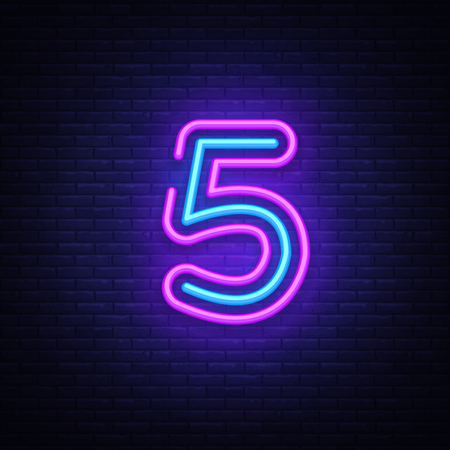 Ilustración de Number Five symbol neon sign vector. Number Five template neon icon, light banner, neon signboard, nightly bright advertising, light inscription. Vector illustration. - Imagen libre de derechos