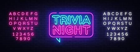 Illustration pour Trivia night announcement neon signboard vector. Light Banner, Design element, Night Neon Advensing. Vector illustration. Editing text neon sign. - image libre de droit