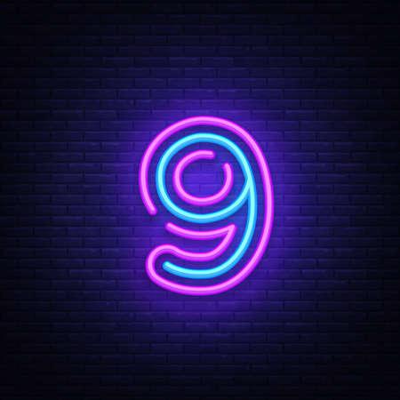 Ilustración de Number nine symbol neon sign vector. Ninth, Number nine template neon icon, light banner, neon signboard, nightly bright advertising, light inscription. Vector illustration. - Imagen libre de derechos