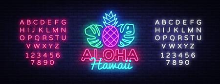 Ilustración de Aloha neon sign vector. Aloha Hawaii Design template neon sign, summer light banner, neon signboard, nightly bright advertising, light inscription. Vector Illustration. Editing text neon sign - Imagen libre de derechos