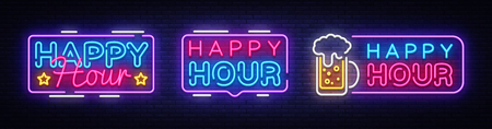 Ilustración de Happy Hour neon banner collection vector design template. Happy Hour neon text, light banner design element colorful modern design trend, night bright advertising, bright sign. Vector illustration. - Imagen libre de derechos