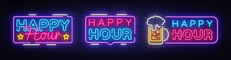 Illustration pour Happy Hour neon banner collection vector design template. Happy Hour neon text, light banner design element colorful modern design trend, night bright advertising, bright sign. Vector illustration. - image libre de droit
