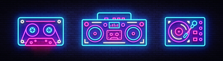 Illustration pour Big collection neon sing. Retro Music neon symbols design elements. Back to 80-90s light banner, modern trend design style. Bright signboard, night advertising. Vector illustration. - image libre de droit