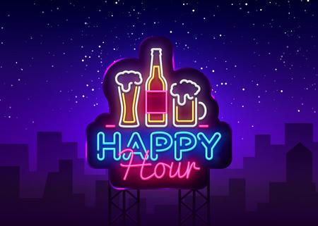 Illustration pour Happy Hour neon sign vector. Happy Hour Design template neon sign, Night Dinner, celebration light banner, neon signboard, nightly bright advertising, light inscription. Vector Billboards. - image libre de droit