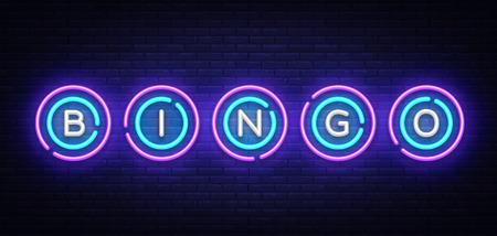 Illustration pour Bingo neon sign vector design template. Lotto symbols neon logo, light banner design element colorful modern design trend, night bright advertising, bright sign. Vector illustration. - image libre de droit