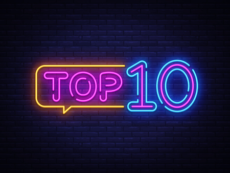 Ilustración de Top 10 Neon Text Vector. Top Ten neon sign, design template, modern trend design, night neon signboard, night bright advertising, light banner, light art. Vector illustration. - Imagen libre de derechos