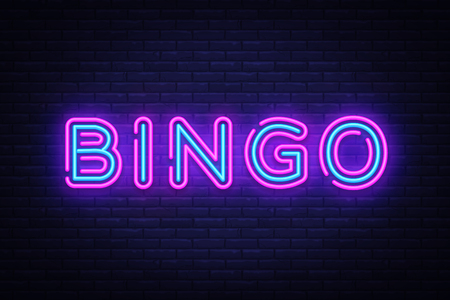 Ilustración de Bingo Neon text Vector. Lottery neon sign, design template, modern trend design, night neon signboard, night bright advertising, light banner, light art. Vector illustration - Imagen libre de derechos