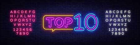 Ilustración de Top 10 Neon Text Vector. Top Ten neon sign, design template, modern trend design, night neon signboard, night bright advertising, light banner, light art. Vector. Editing text neon sign. - Imagen libre de derechos