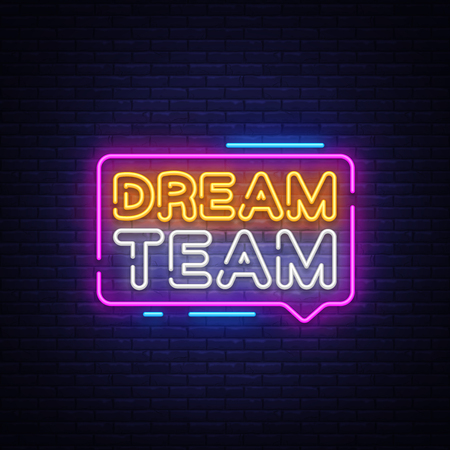 Ilustración de Dream Team Neon Text Vector. Dream Team neon sign, design template, modern trend design, night neon signboard, night bright advertising, light banner, light art. Vector illustration - Imagen libre de derechos