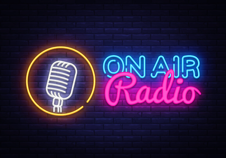 Ilustración de On Air Radio Neon Logo Vector. On Air Radio neon sign, design template, modern trend design, night neon signboard, night bright advertising, light banner, light art. Vector illustration - Imagen libre de derechos