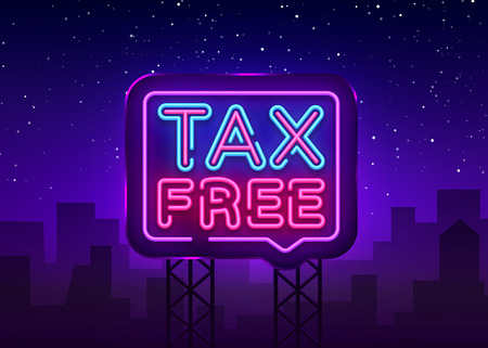 Ilustración de Tax free poster neon signboard vector. Tax free neon glowing letters shining, Light Banner, neon text.Vector illustration. Billboard. - Imagen libre de derechos