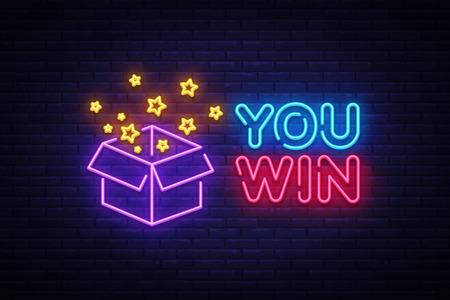 Ilustración de You Win neon sign vector. You Win Design template neon sign, Congratulation, celebration light banner, neon signboard, nightly bright advertising, light inscription. Vector illustration. - Imagen libre de derechos
