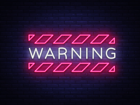 Ilustración de Warning Neon Text Vector. Danger Zone neon sign, design template, modern trend design, night neon signboard, night bright advertising, light banner, light art. Vector illustration. - Imagen libre de derechos