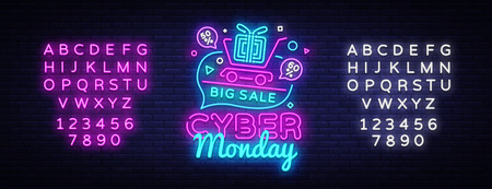 Illustration pour Cyber Monday Sale neon sign vector. Cyber Monday Bid discount Design template neon sign, light banner, neon signboard, nightly bright advertising, light inscription. Vector. Editing text neon sign. - image libre de droit