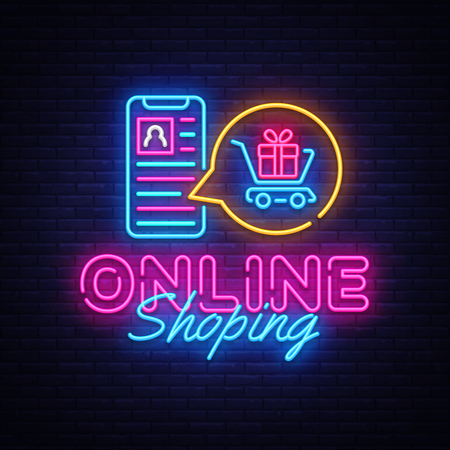 Ilustración de Online Shoping neon banner vector design template. Mobile paymentsneon logo, light banner design element colorful modern design trend, night bright advertising, bright sign. Vector illustration. - Imagen libre de derechos