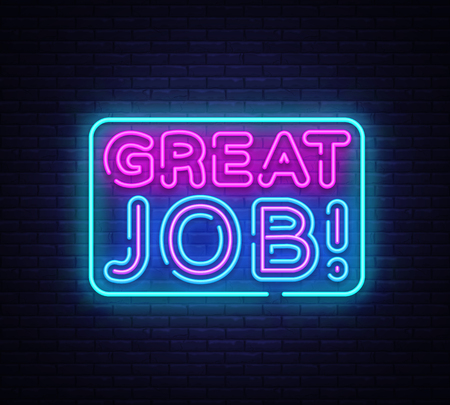 Illustration pour Great Job neon sign vector. Great Job Design template neon sign, light banner, neon signboard, nightly bright advertising, light inscription. Vector illustration. - image libre de droit