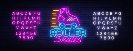 Ilustración de Roller Skates Neon Sign Vector. Retro quad roller skates neon logo, design template, modern trend design, night neon signboard, night bright advertising, light banner. Vector. Editing text neon sign. - Imagen libre de derechos